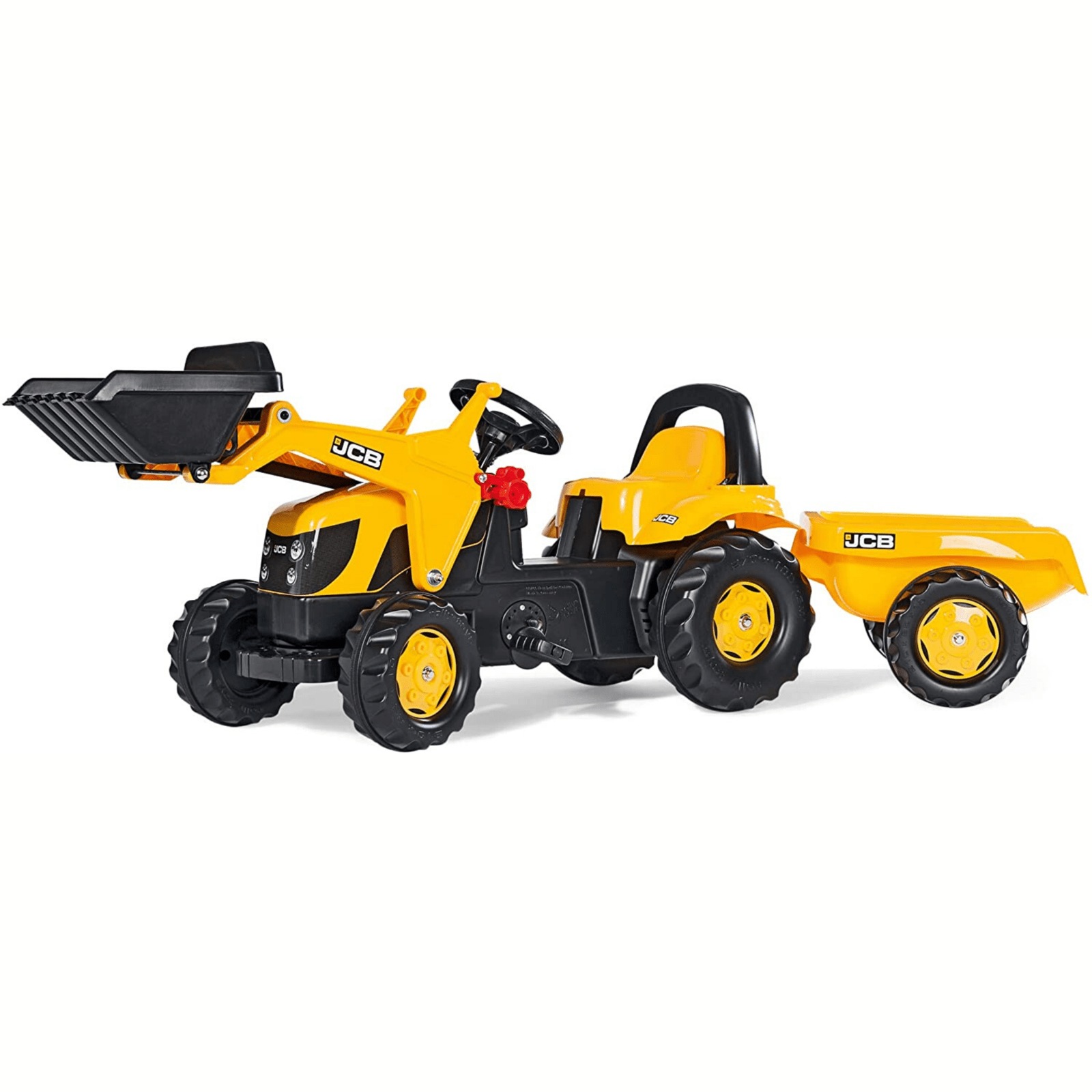 JCB Pedal Tractor with Frontloader & Trailer