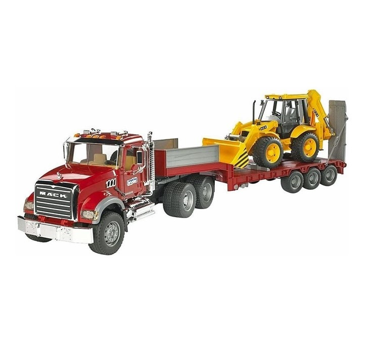 MACK Truck with low loader and JCB 4CX 1:16 scale