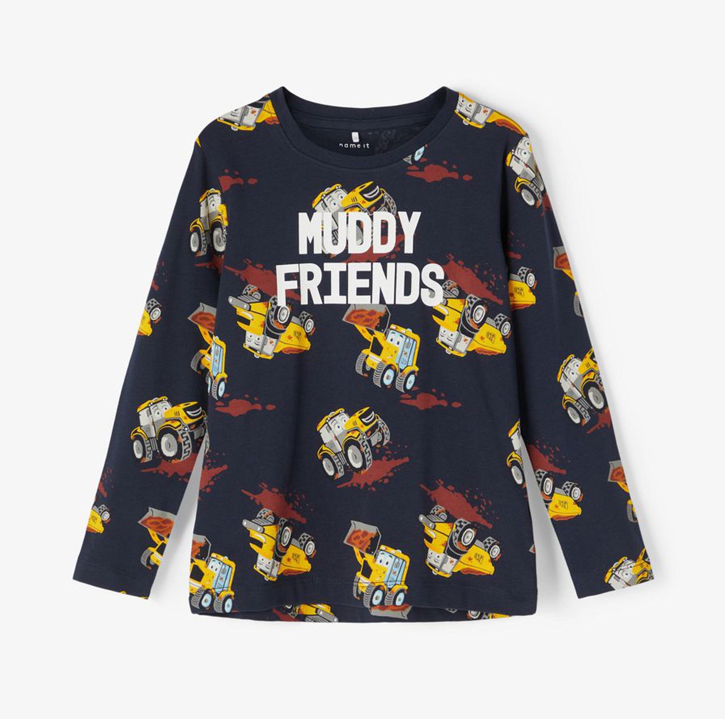 JCB Muddy Friends Long Sleeve T-shirt Navy