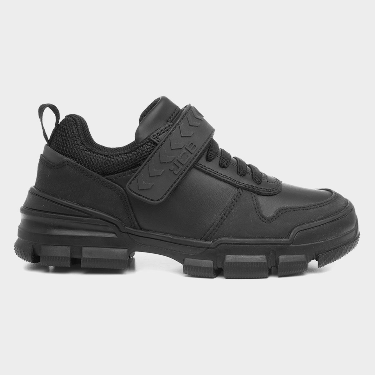 JCB Halmer Black Leather Easy Fasten Shoe